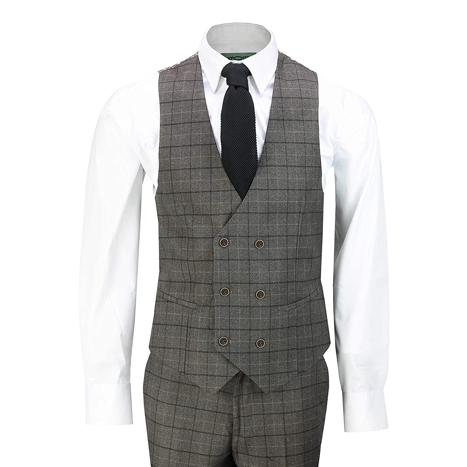 Mens 3 Piece Brown Check Suit Retro Vintage Smart Tailored Fit Classic Formal