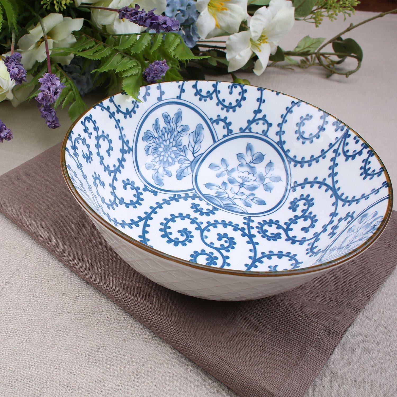 40-Ounce Porcelain Soup,Salad,Pasta Serving Bowls, Assorted Floral Patterns, Stackable Deep Bowl Set of 4 by YALONG (Image #8)