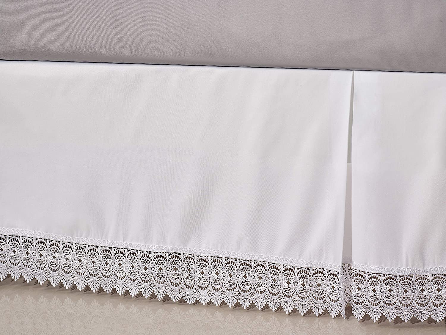 Elegant Comfort  Silky-Soft Luxury Lace Fringe Dust Ruffle//Bed Skirt Microfiber Platform Wrinkle and Fade Resistant with 15inch Drop Queen White Elegant Comfort TM Lace-BedSkirt-Queen-White