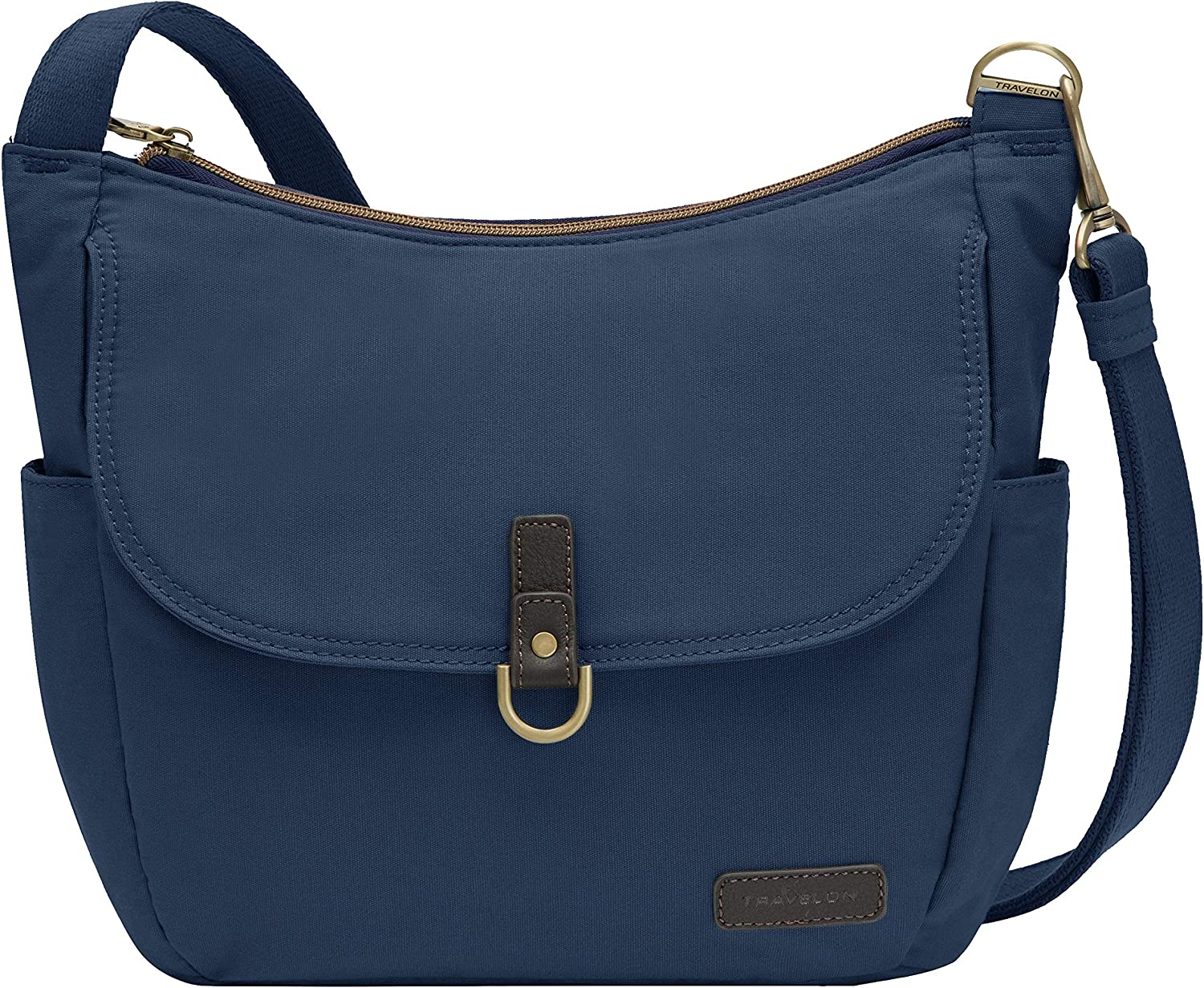 Travelon Anti-Theft Courier Bucket Hobo, Navy, One Size