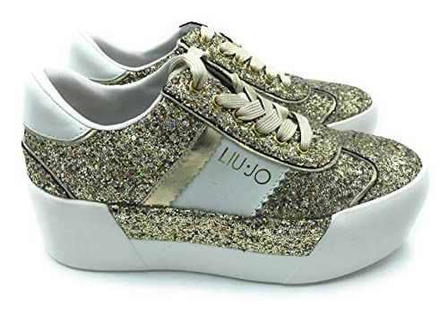 Liu Jo Jeans - Zapatillas de Cuero para Mujer Dorado Dorado Dorado Size: 40 EU: Amazon.es: Zapatos y complementos