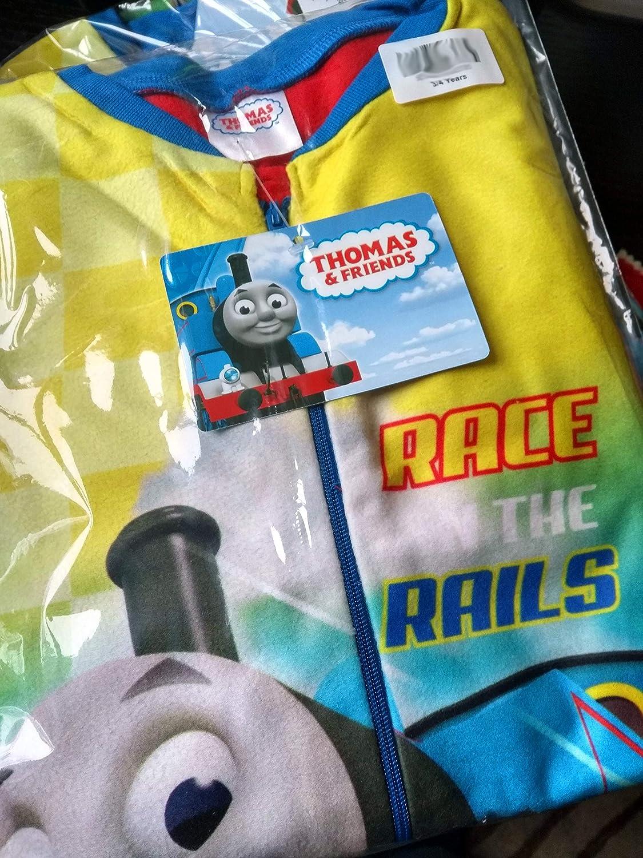 Thomas All In One Kids Fleece Pyjamas Race on The Rails Childrens Sleepsuit PJ