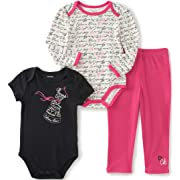 Calvin Klein Baby Girls' Long/Short Sleeve Creeper with Pants, Hot Pink, 3/6 Months