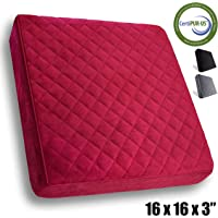 Comfortanza Chair Seat Cushion   Square Firm Thick Foam Pads for Wooden Kitchen Dining Chairs, Office & Car Seat   Booster Seat   Comfort & Back Pain Relief