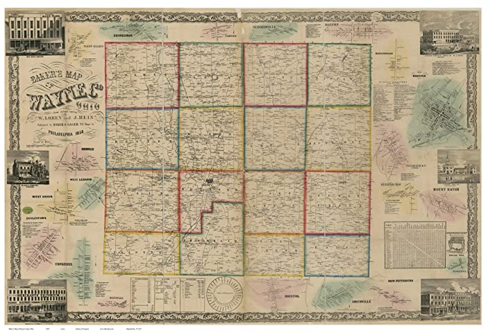 Amazon Com Wayne County Ohio 1856 Wall Map With Homeowner Names