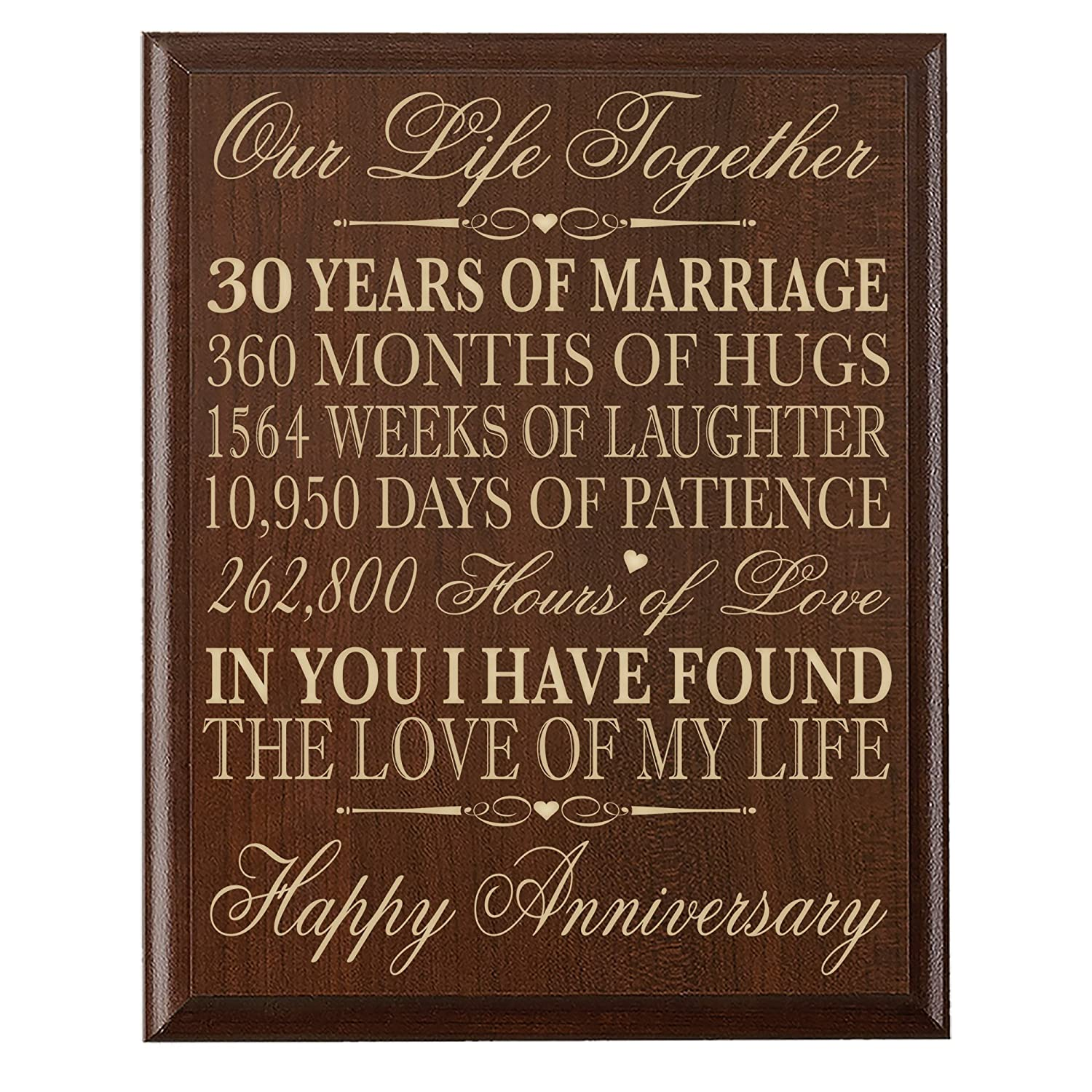 """LifeSong Milestones 30th Anniversary Gift ideas Couple Parents 30 year Anniversary Gifts ideas for him her Wall Plaque 12"""" x 15"""" By (Walnut)"""