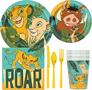 BashBox Disney Lion King Birthday Party Supplies Pack Including Cake & Lunch Plates, Cutlery, Cups, Napkins (8 Guests)