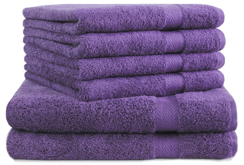 Betz Lot de 6 serviettes: 2 draps de bain serviettes de bain 70x140 cm 4 serviettes d'invité 30x50 cm 100% coton Premium couleur violet