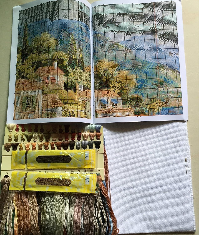 138cm/×72 or 53.82/×28.08 Joy Sunday Cross Stitch kits Peony Tibetan Mastiff,11CT Counted