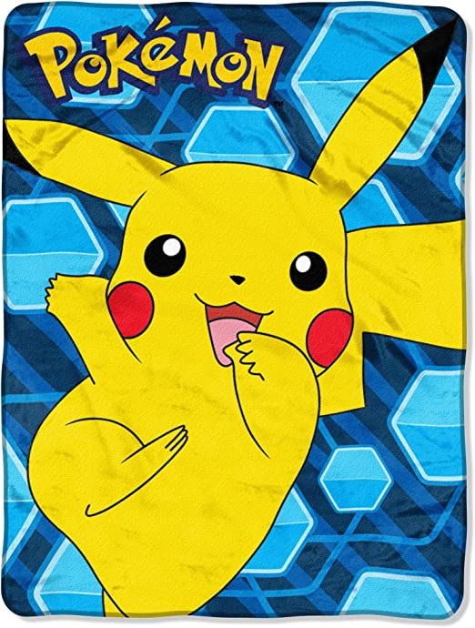 """Pokemon Pikachu Glitch Digital fleece blanket throw 46/"""" x 60/"""" NEW"""