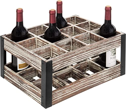 MyGift Rustic Metal Wood Crate 12-Bottle Tabletop Wine Rack