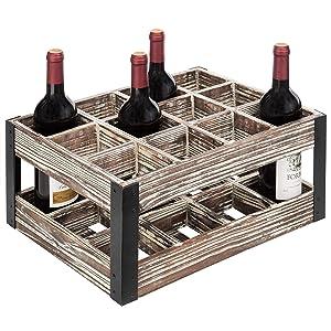 MyGift Rustic Metal & Wood Crate 12-Bottle Tabletop Wine Rack