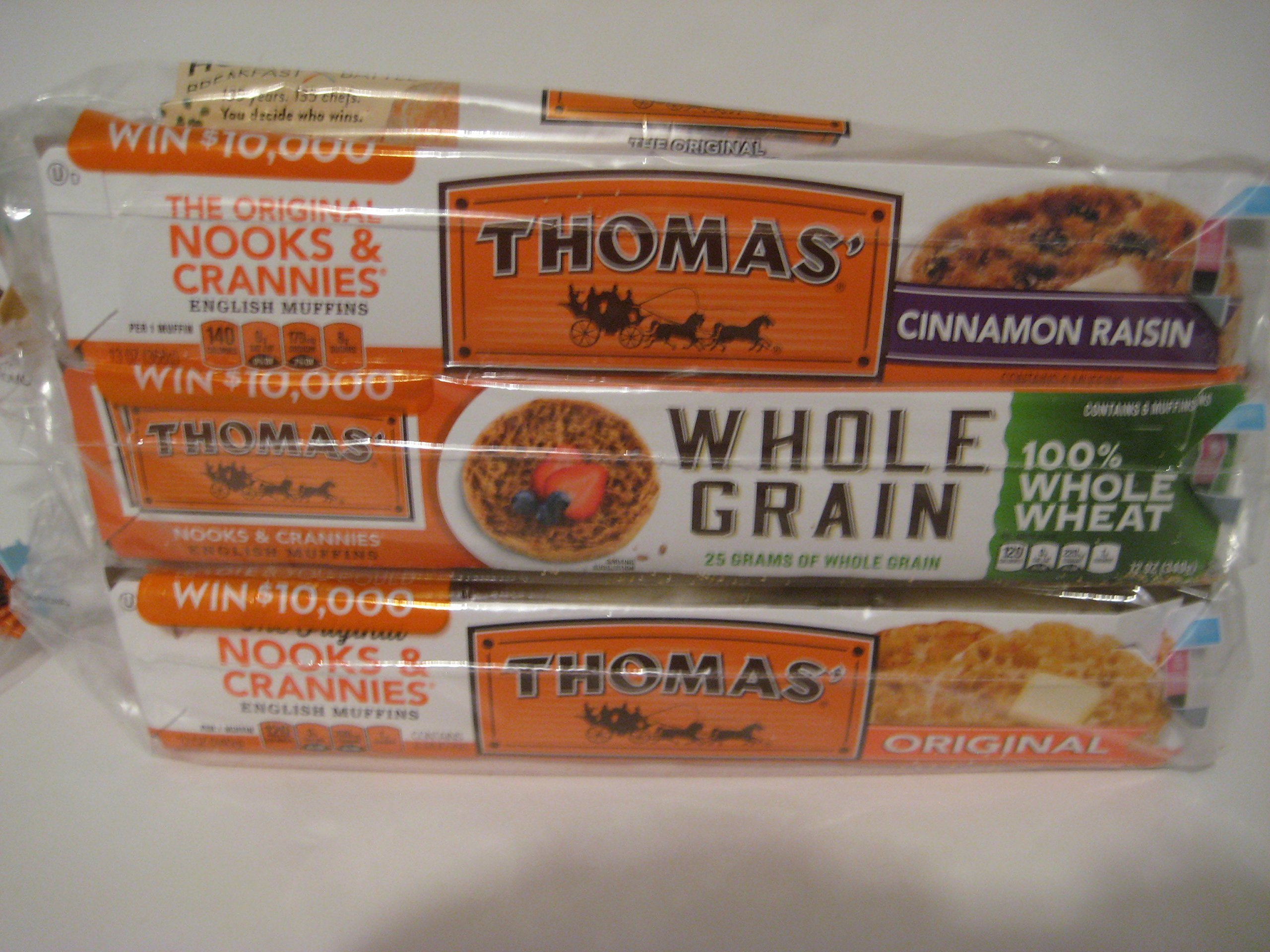 Thomas' English Muffin Combo: Original Nooks & Crannies 6 Ct, Whole Grain 100% Whole Wheat 6 Ct, Cinnamon Raisin 6 Ct Bundle Enjoy!