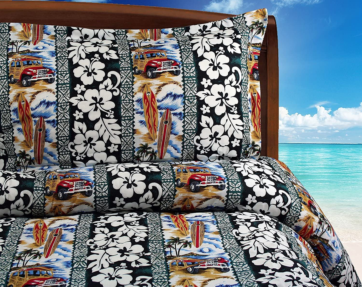 Surf Duvet Cover -- Woody Cars and Surfboards with Pillowcases (Queen / Full)