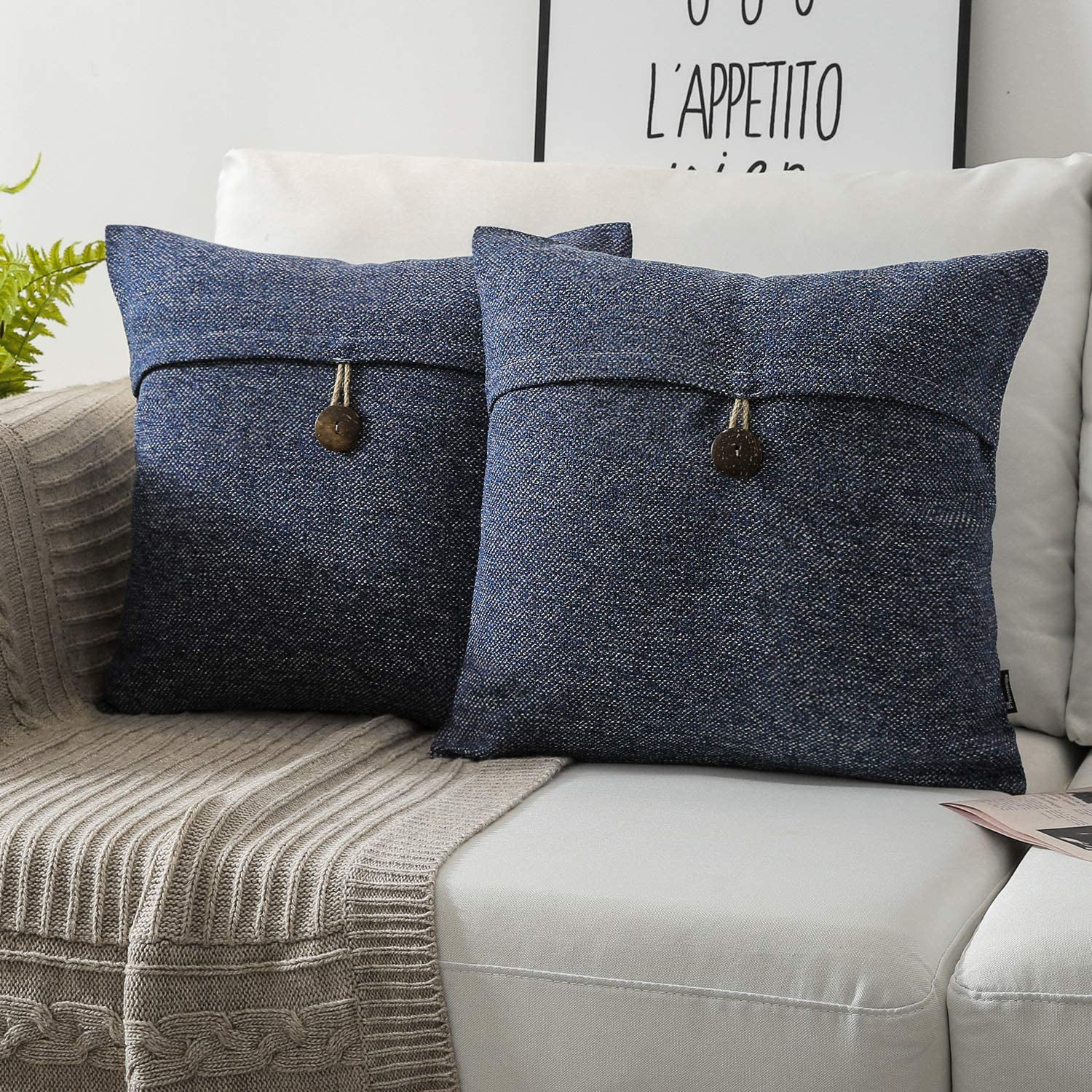 Phantoscope Pack of 2 Farmhouse Throw Pillow Covers Button Vintage Linen Decorative Pillow Cases for Couch Bed and Chair Navy Blue 22 x 22 inches 55 x 55 cm