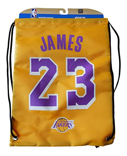 bceafe07afa Amazon.com   NBA Los Angeles Lakers LeBron James  23 Player Drawstring  Backpack