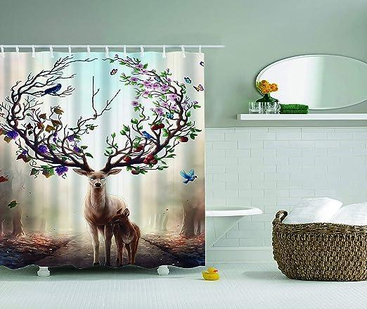 Fairy Forest Animals Shower Curtain Bathroom Waterproof Fabric /& Bath Mat 8759