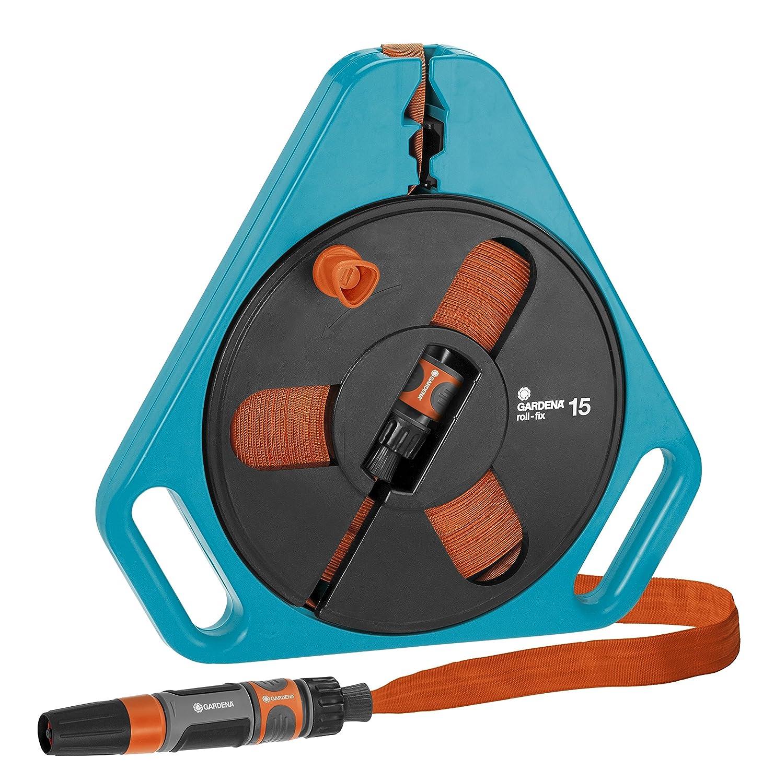 Gardena 00756-20 Classic Roll-Fix-Flat Hose with Cartridge, Black/Blue/Orange, 40.99x40.00x5.00 cm 756-U