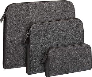Pendaflex Felt Zip Pockets, Assorted Sizes, Felt Pouch in S-M-L, Charcoal Gray, 3 Pack (90000)