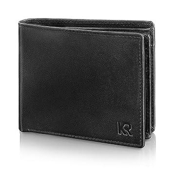 1416ea9898197 KRONIFY Geldbeutel Männer aus Rindsleder mit RFID Schutz Großes  Portemonnaie Geldbörse Herren Leder Schwarz Brieftasche Portmonaise