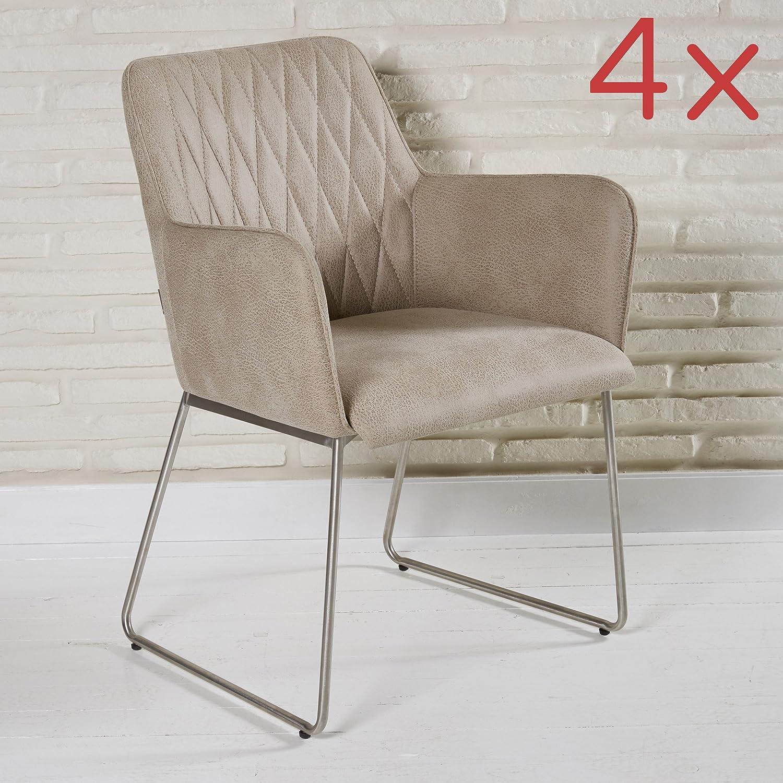 Entzückend Sitzmöbel Wohnzimmer Sammlung Von Elegante Polsterstühle 4 Stück Aus Lederimitat Für