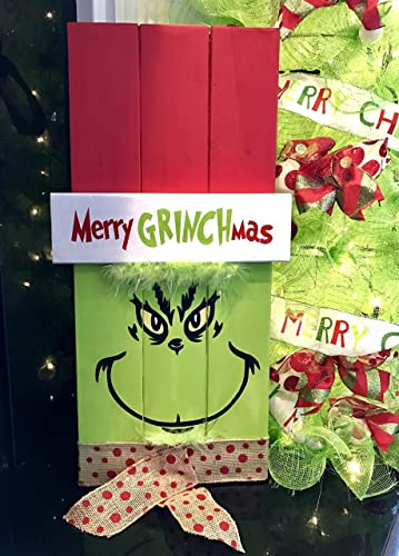 grinch sign grinch christmas decoration christmas sign holiday decor door hanger - Grinch Christmas Decorations Amazon