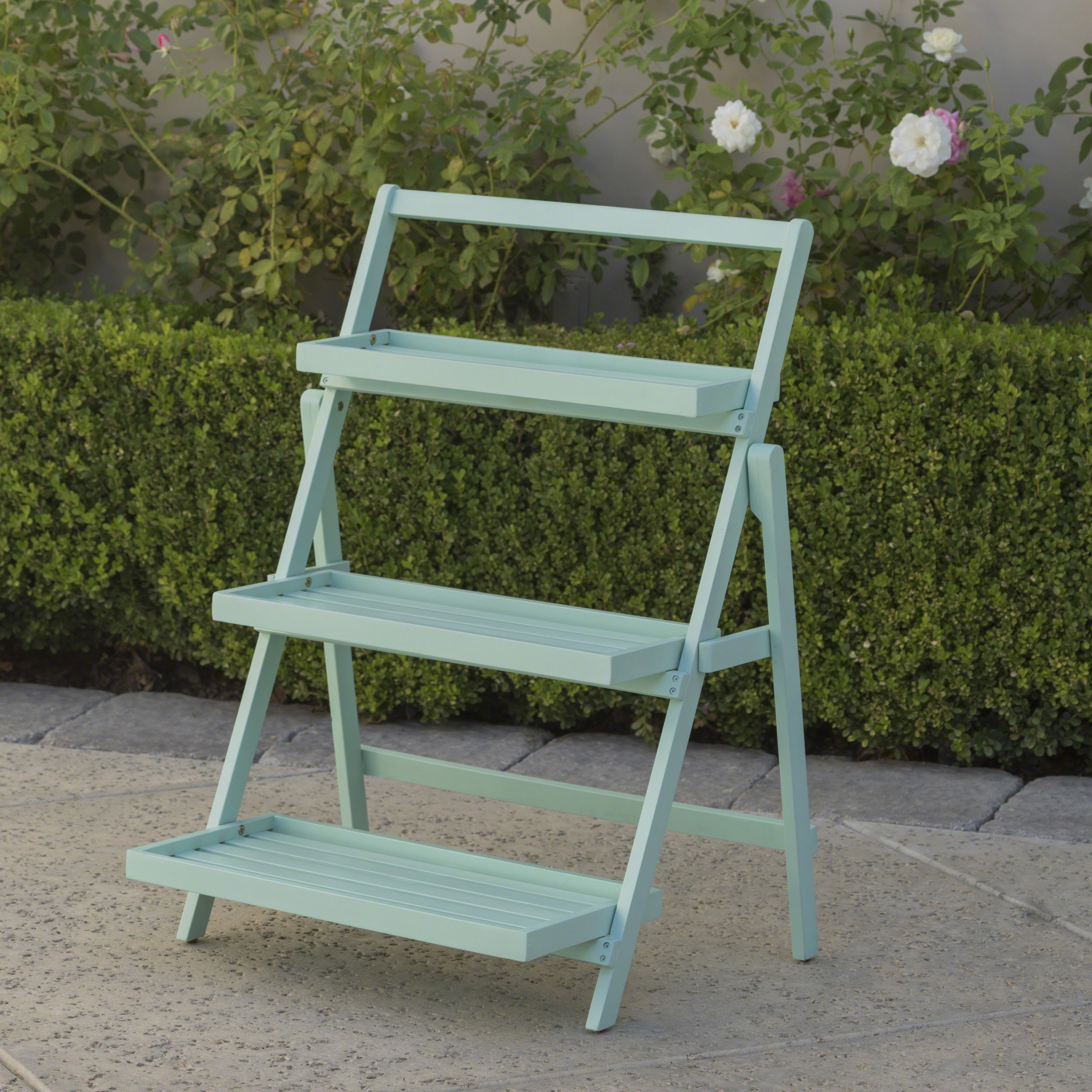 Topside Outdoor Light Mint Acacia Wood Plant Stand by Great Deal Furniture (Image #2)