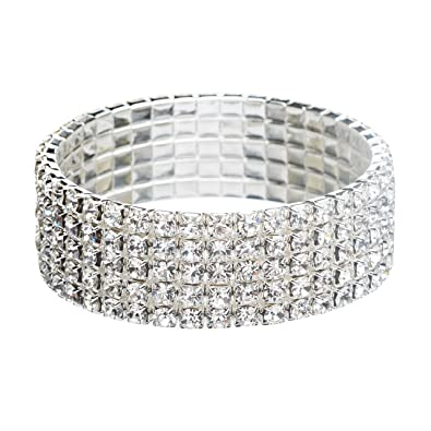 a82f2f5d9ec26 Amazon.com: Bridal Wedding Jewelry Crystal Rhinestone 4-Row Fashion ...