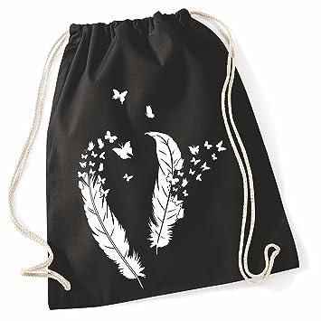 4e95d2fde9 Sacca Borsa di stoffa Sacchetto di iuta con Cordoncino Borsa cotone Borsa  palestra Sacca sportiva Sacchetto di scuola Zaino Tela Piume bianco (Motivo  10, ...