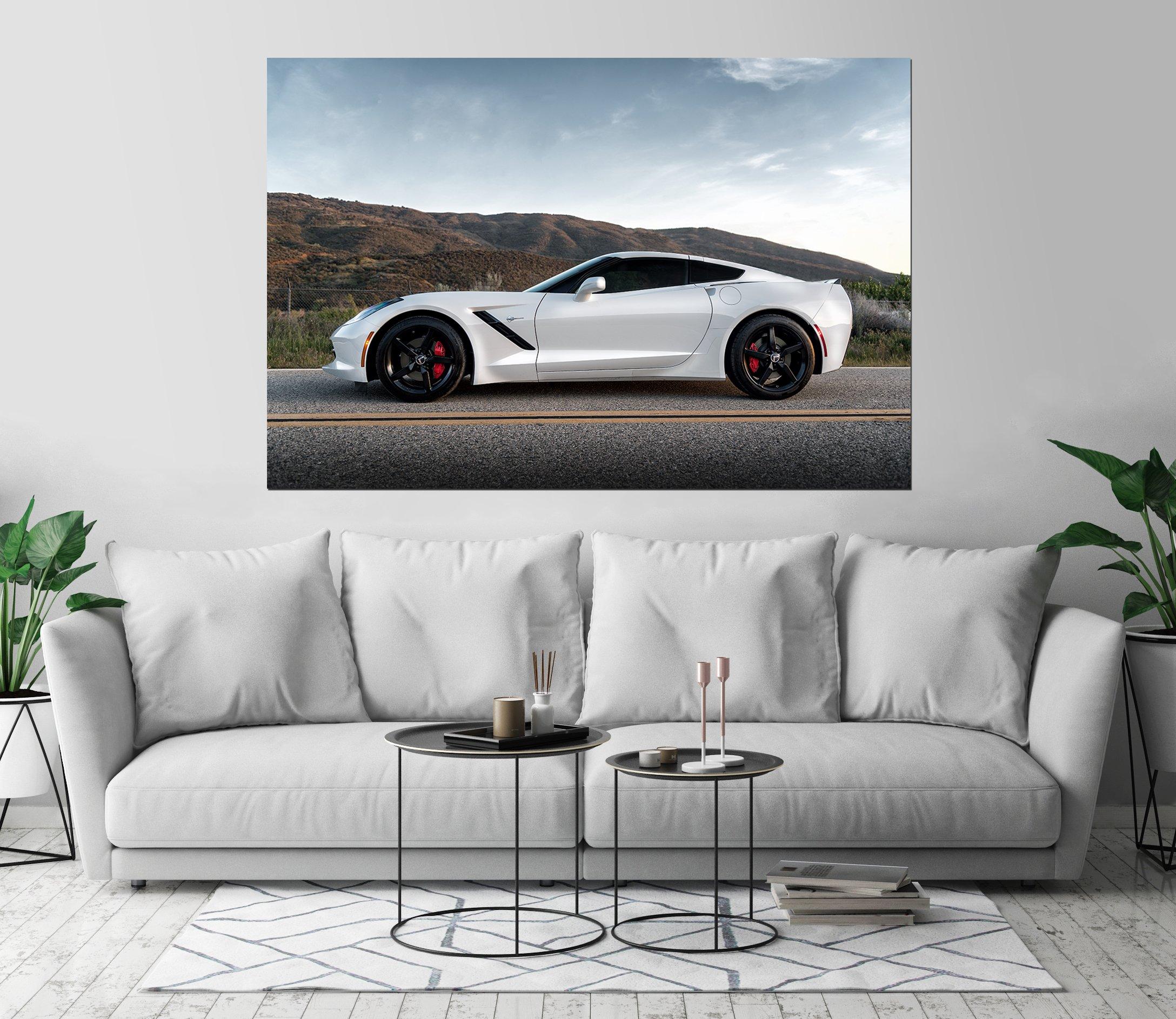Corvette Stingray C7 Luxury Automobile Art Print Wall Decor Image Self-Adhesive - Wallpaper Sticker 40 x 60-2XL