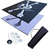 RV Patio Mat Awning Mat Outdoor Leisure Mat 9x12 Pirate Flag Complete Kit