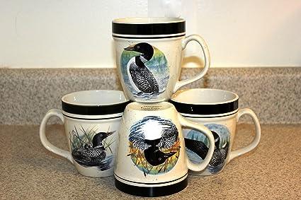 Amazon.com | Folkcraft LOON LAKE Mugs Set of 4 by Scottyz: Coffee ...