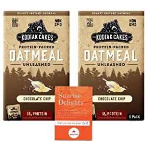 Kodiak Cakes Protein-Packed Chocolate Chip Oatmeal Unleashed, 2 Box Bundle Pack, 6 packets per box, NON GMO, 100% Whole Grains Plus Free Sunrise Delights Breakfast Food and Drink Recipes and Fun Facts Booklet