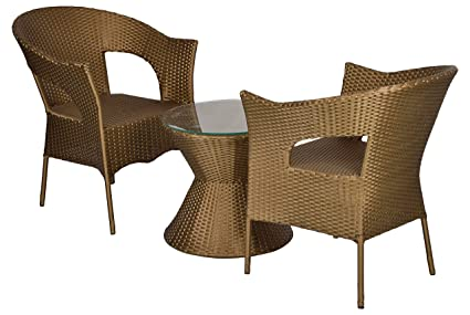 """FurniFutureâ""""¢ Mystery Outdoor Furniture 2 Chair and Table Set - (Golden)"""
