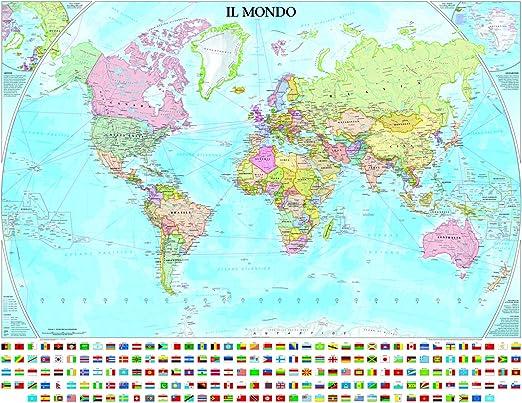 Cartina Mondo Con Bandiere.Geo4map 9788869851230 Planisfero Politico Con Bandiere Amazon It Cancelleria E Prodotti Per Ufficio