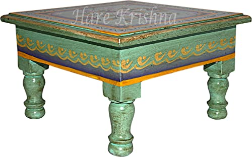 Small Corner Side Table Bedroom Puja Chowki Painted Low Stool Bajot 9 x 9 x 5.5 Inche