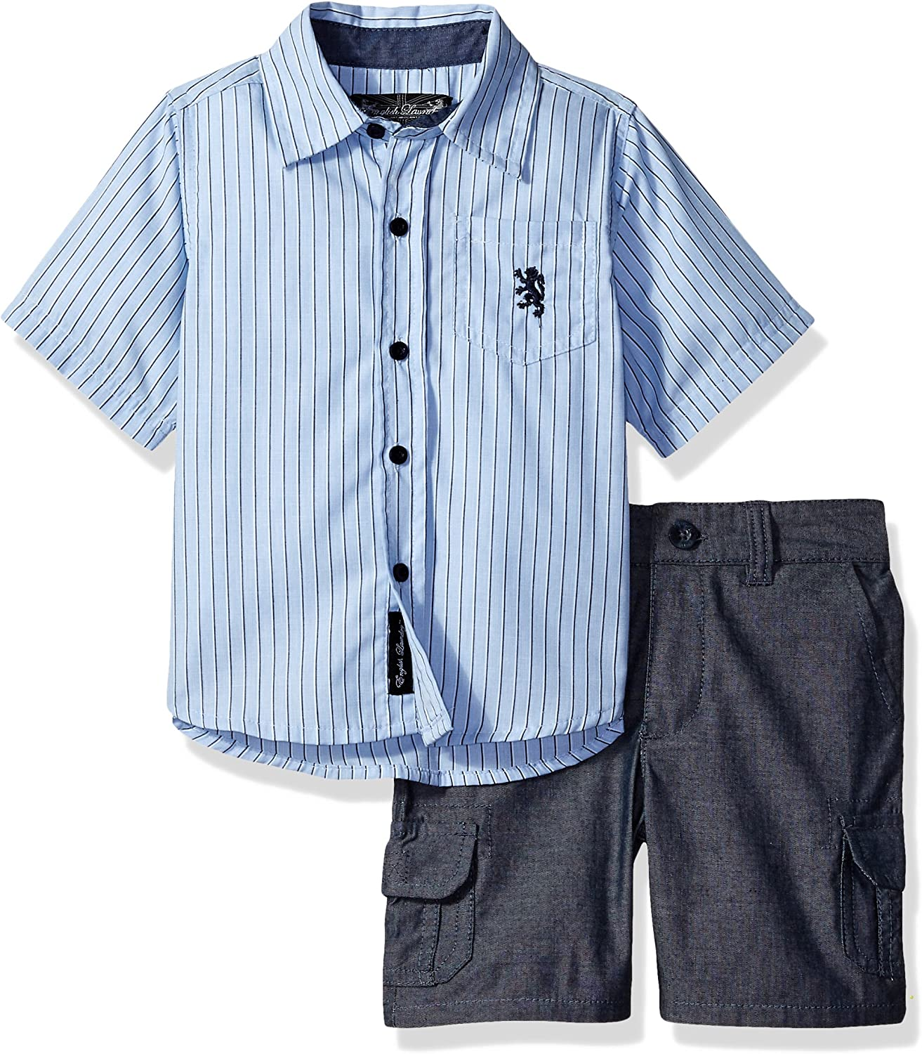 English Laundry Boys Sleeve Striped Woven Shirt and Chambray Cargo Short