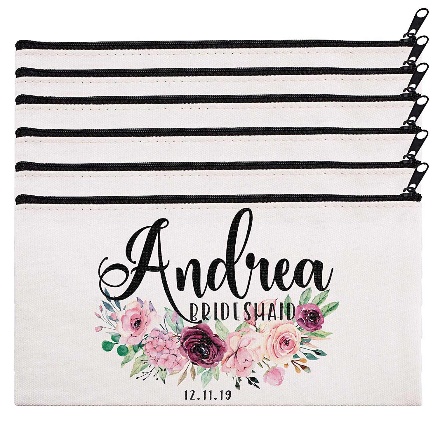 Personalized Makeup Bag Bridesmaid Wedding Customized Pouch Bachelor | Design-10 | Set of 6