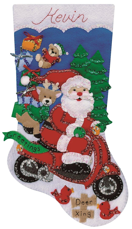 18 Tobin Scooter Santa Stocking Felt Applique Kit-18 Long