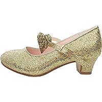 La Señorita Zapato Elsa Frozen corazón Flamenco Sevillanas de la Princesa niña Oro Purpurina