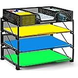 Simple Trending 3-Trays Stackable Office Desk Supplies Organizer with Drawer Organizer, Desktop Letter/A4 FileTray Holder Organizer, Black