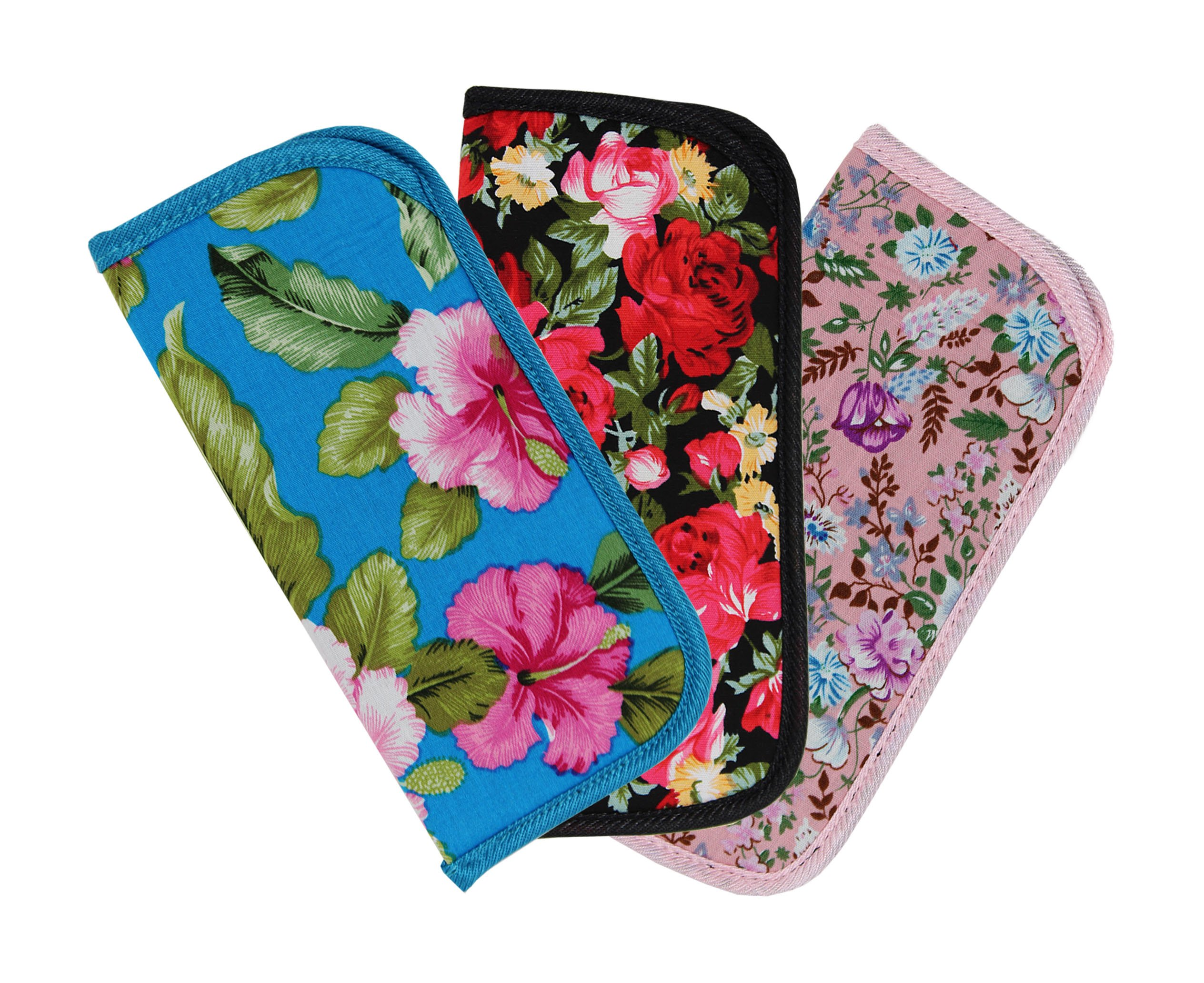 3 Pack Soft Slip In Eyeglass Case for Women Glasses, Reading Glasses, or Sunglasses – Fabric Floral Case by Ron's Optical