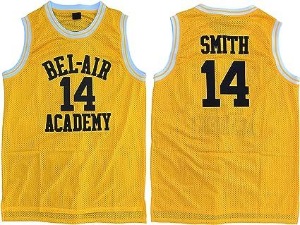 Camiseta de baloncesto bordada tallas S-XXL color amarillo MVG ATHLETICS Smith #14 Bel Air Academy