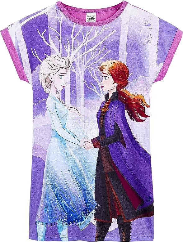 Ropa de Ni/ña Verano Disney Frozen 2 Pijama Ni/ña Vestidos Ni/ña de Manga Corta Camison Ni/ña de Las Princesas Anna y Elsa Frozen Regalos para Ni/ñas Edad 3-12 A/ños