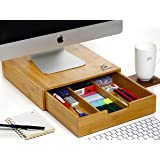 Monitor stand organizer - Splinter Boost - Bamboo wood desk computer stand with storage drawers
