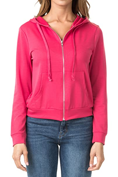 52bb8201b4 WeSeeFashion WSF Women s Zip Up French Terry Extra Lightweight Hoodie  Sweater Jacket with Pocket X-