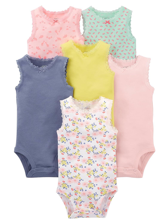 dcc3b8e05c1d Amazon.com  Simple Joys by Carter s Baby Girls  6-Pack Sleeveless Bodysuit   Clothing