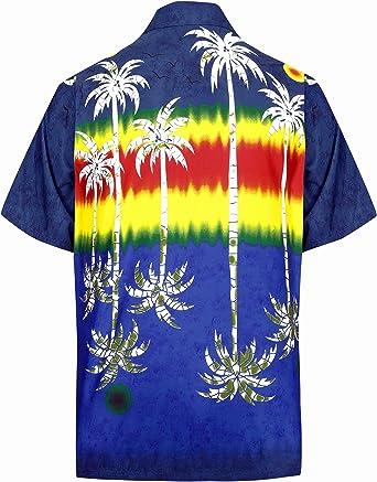 LA LEELA Casual Hawaiana Camisa para Hombre Señores Manga Corta Bolsillo Delantero Surf Palmeras Caballeros Playa Aloha L-(in cms):111-121 Azul Marino_W395: Amazon.es: Ropa y accesorios