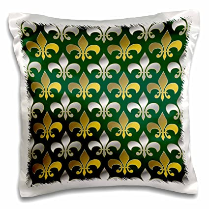 3dRose Gold And Silver Colored Fleur De Lis Pattern Emerald Green Background Pillow Case 16