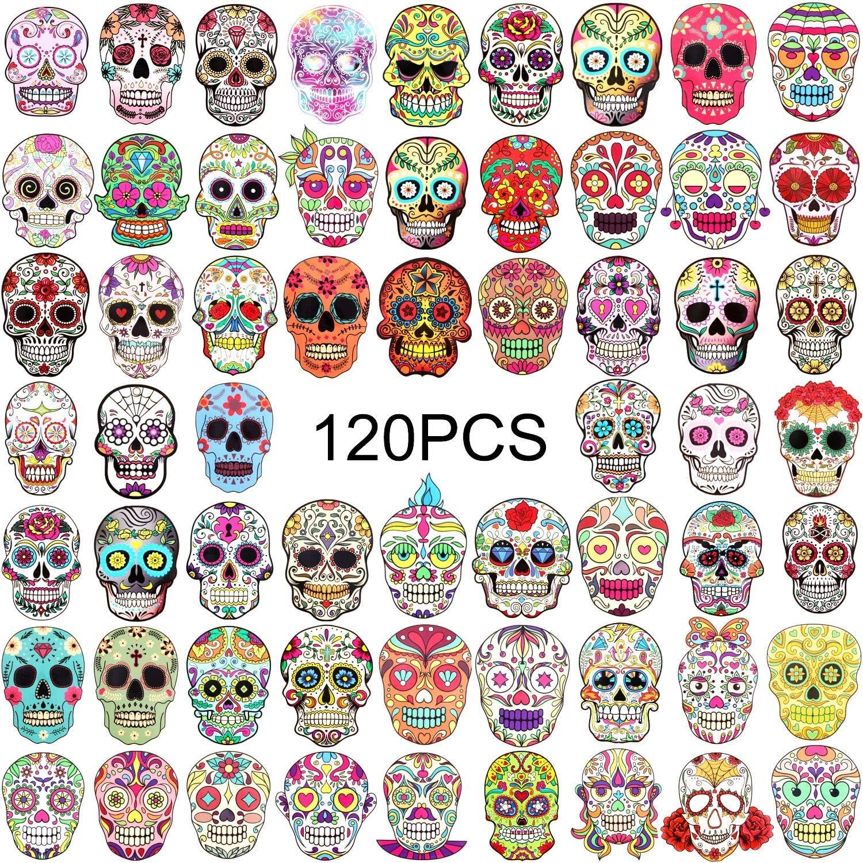 120 Pieces Skull Stickers Halloween Sugar Skull decals dia de los muertos Mexican Day of Dead Sticker for Laptop Water Bottle Luggage Bike Computer
